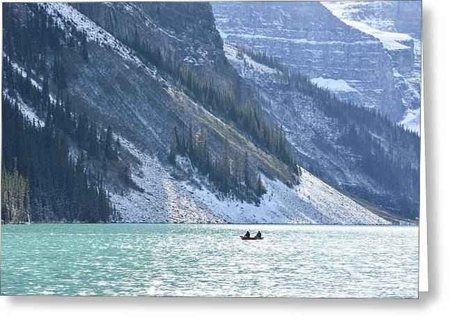 Canoeing On Lake Louise Greeting Card