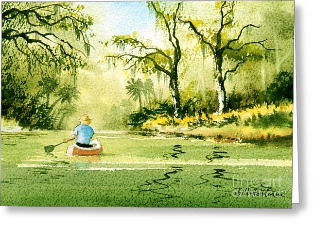 Canoeing The Rivers Of Florida II Greeting Card by Bill Holkham