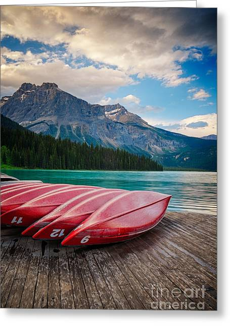 Canoes At Emerald Lake In Yoho National Park Greeting Card