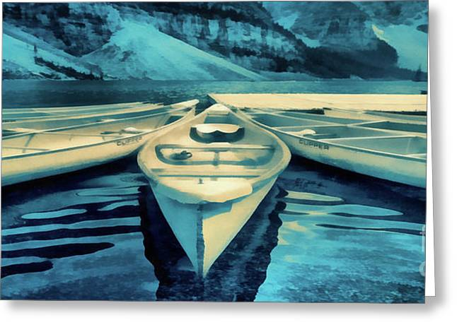Canoes Banff Mug Greeting Card by Edward Fielding