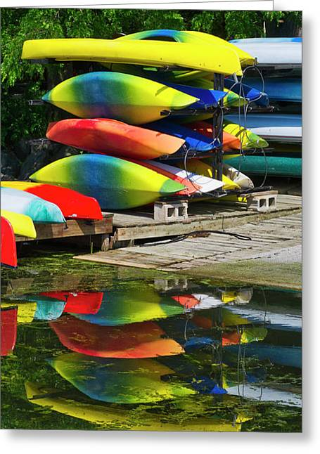Canoes - Lake Wingra - Madison - Wisconsin Greeting Card by Steven Ralser