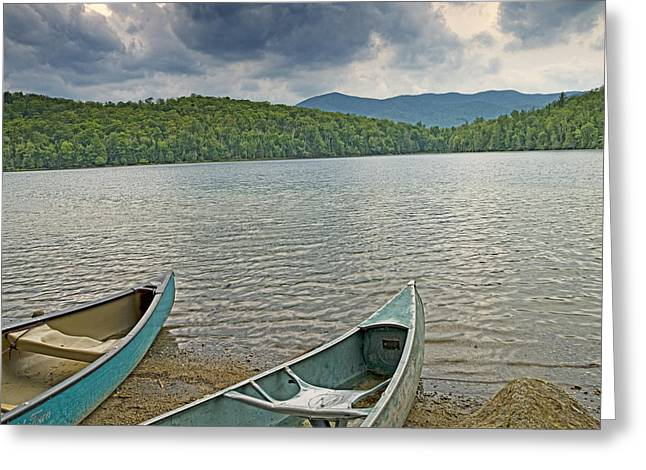 Canoes On Heart Lake Adirondack Park New York Greeting Card by Brendan Reals