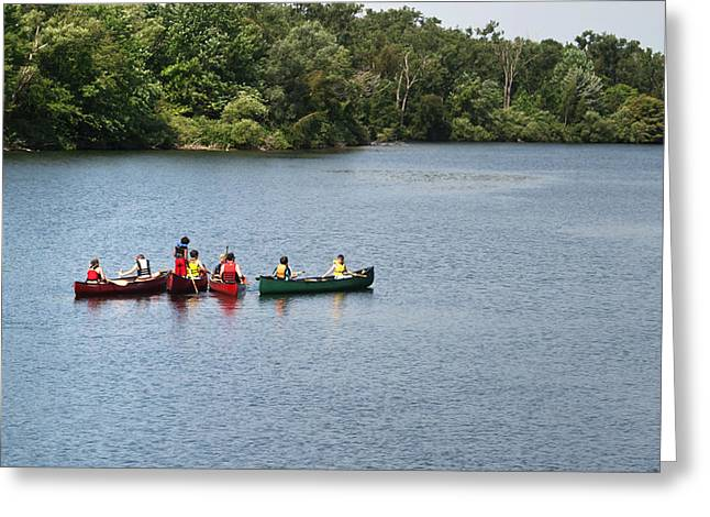 Canoeing Photographs Greeting Cards - Canoes on lake Greeting Card by Blink Images