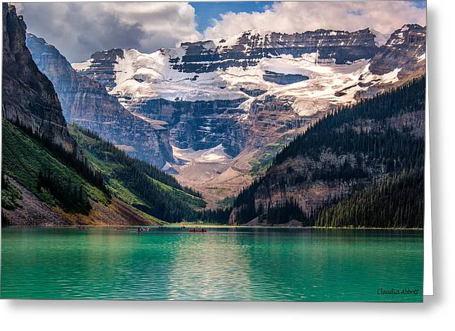 Canoes On Lake Louise Greeting Card