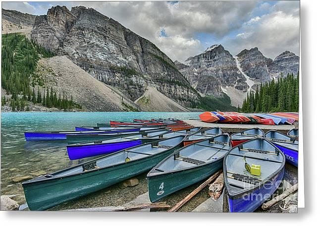 Canoes On Moraine Lake  Greeting Card