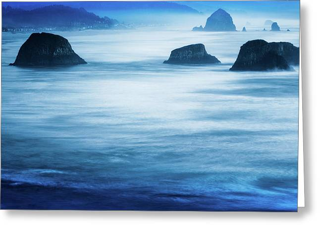 Canon Beach Blues Greeting Card by Debi Bishop