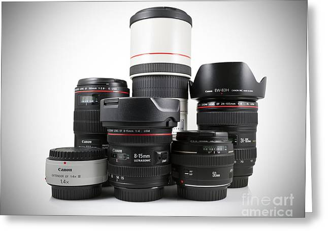 Canon Lenses Greeting Card by Brandon Alms