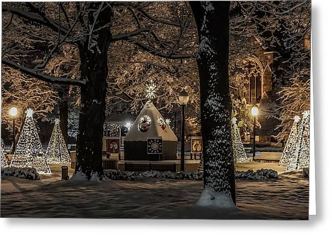 Canopy Of Christmas Lights Greeting Card