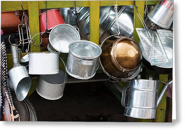 Cans And Pans Greeting Card by Totto Ponce