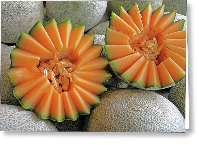 Cantaloupe Halves Greeting Card by Ann Horn