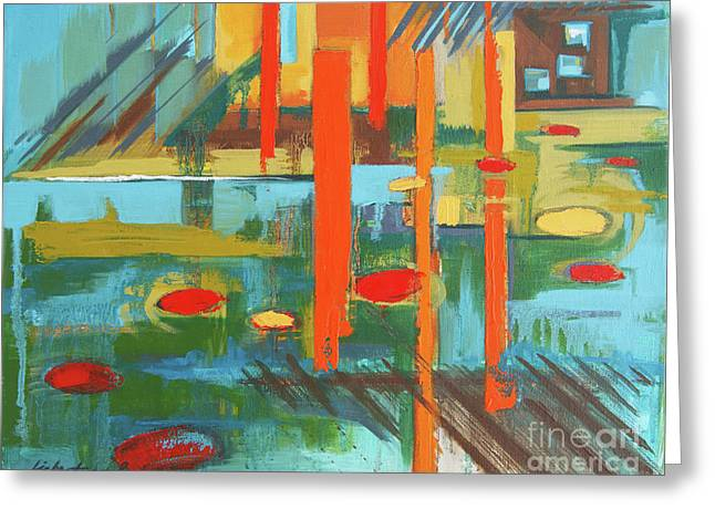 Greeting Card featuring the painting Cantaloupe Island by Erin Fickert-Rowland
