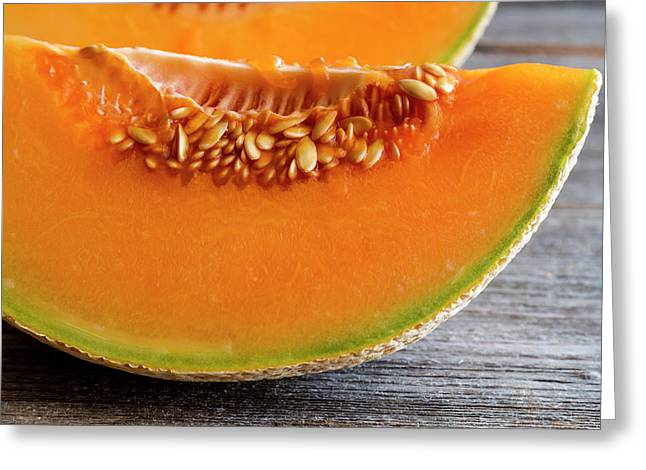Cantaloupe Melon Close Up Greeting Card by Teri Virbickis