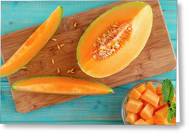 Cantaloupe Melon Slices Greeting Card by Teri Virbickis