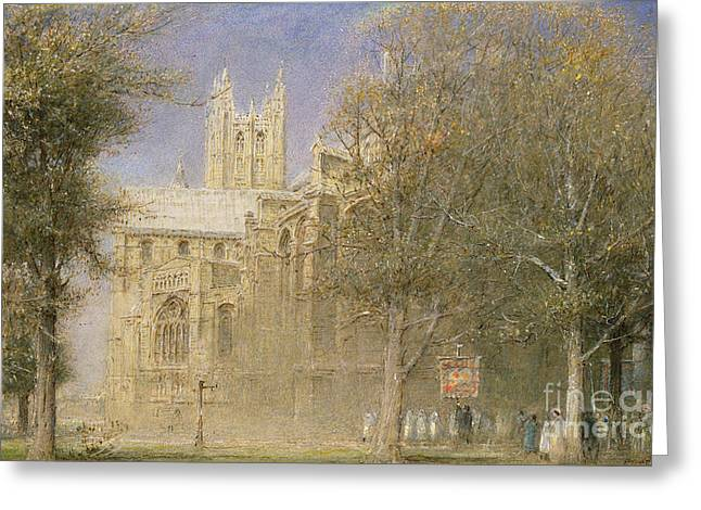 Canterbury Cathedral Greeting Card by Albert Goodwin