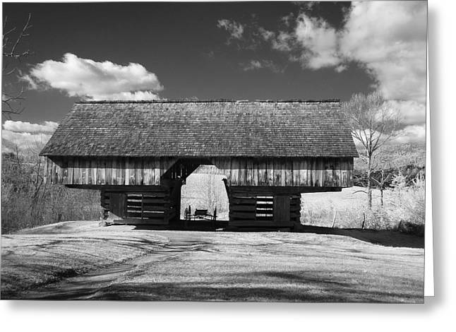 Cantilever Barn Greeting Cards - Cantilver Barn Cades Cove Greeting Card by Tim Litwiller