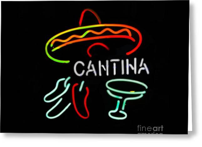 Cantina Neon Sign Greeting Card