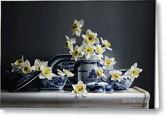 Canton With Daffodils Greeting Card by Larry Preston