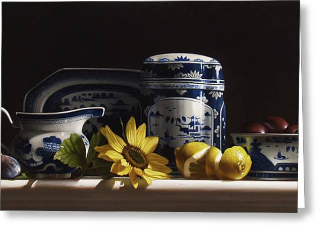 Canton With Sunflowers And Fruit Greeting Card by Larry Preston