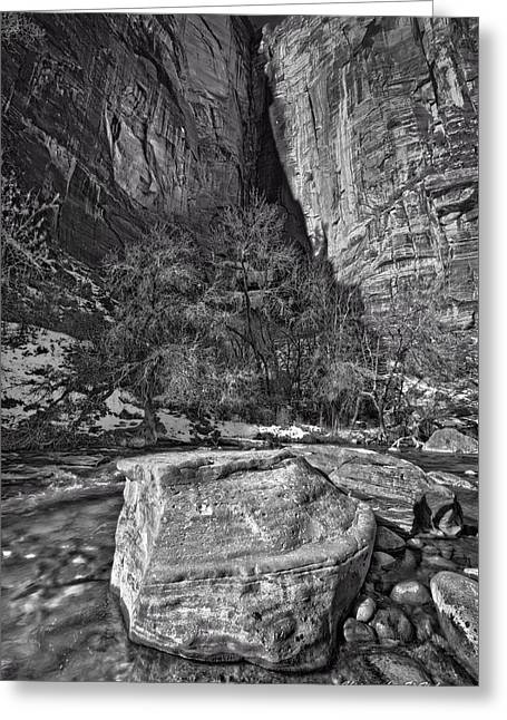 Canyon Corner - Bw Greeting Card by Christopher Holmes