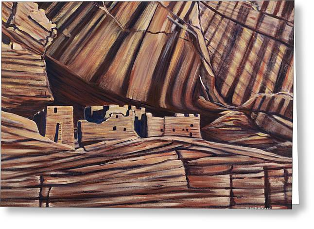 Counry Greeting Cards - Canyon de Chelly cliff dwellings Greeting Card by George Chacon