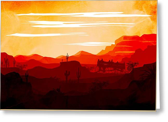 Abstract Landscape Ghost Town Art 2 - By Diana Van Greeting Card by Diana Van