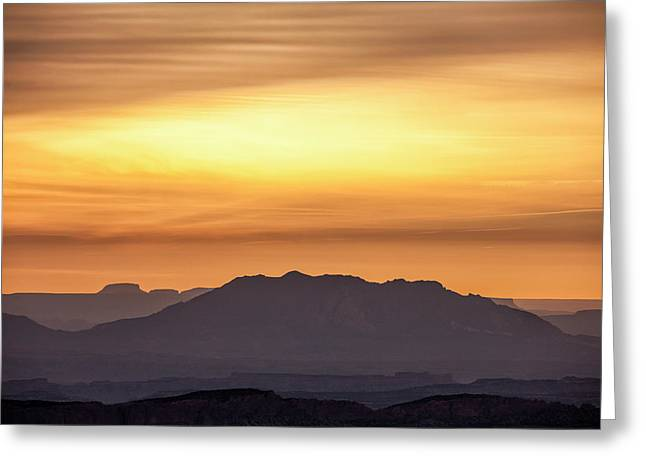 Canyon Layers With Fiery Sunrise Greeting Card