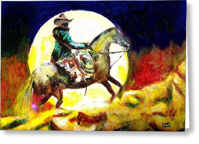 Greeting Card featuring the painting Canyon Moon by Seth Weaver