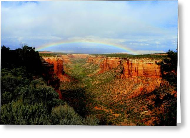 Canyon Rainbow Greeting Card by Ellen  Leigh