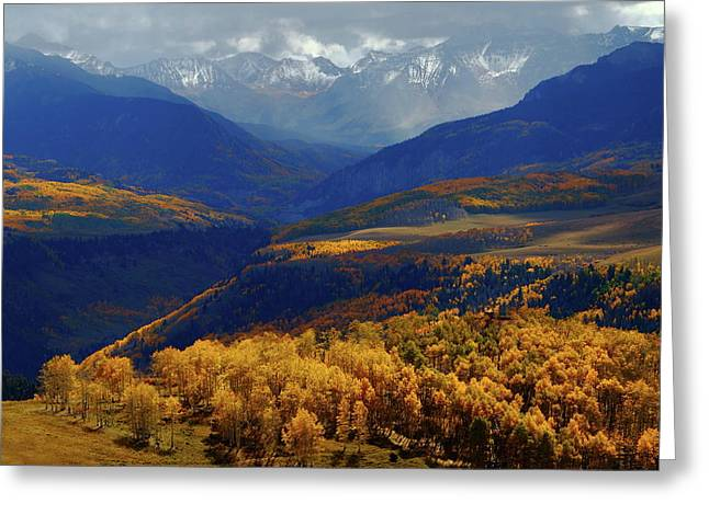 Greeting Card featuring the photograph Canyon Shadows And Light From Last Dollar Road In Colorado During Autumn by Jetson Nguyen