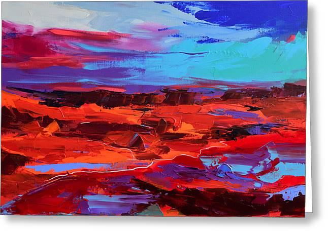 Greeting Card featuring the painting Canyon At Dusk - Art By Elise Palmigiani by Elise Palmigiani