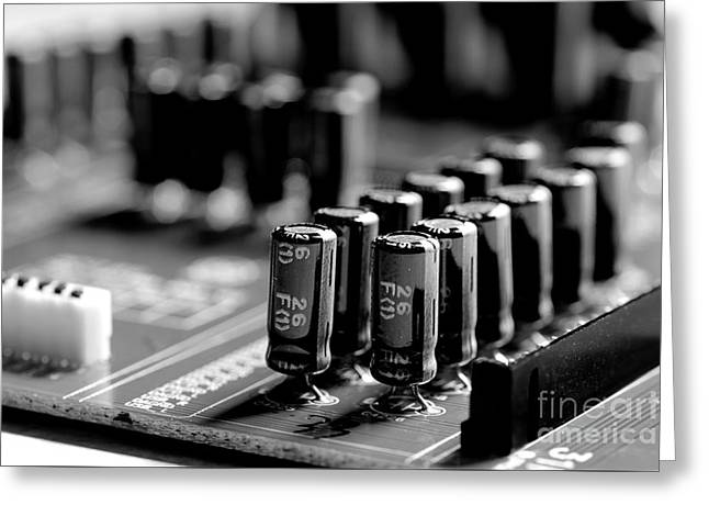 Capacitors All In A Row Greeting Card by Mike Eingle