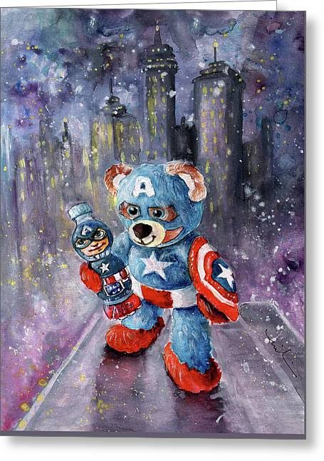 Captain Abearica Greeting Card by Miki De Goodaboom