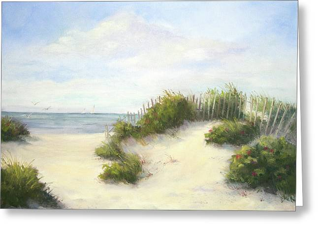 Ocean Shore Paintings Greeting Cards - Cape Afternoon Greeting Card by Vikki Bouffard