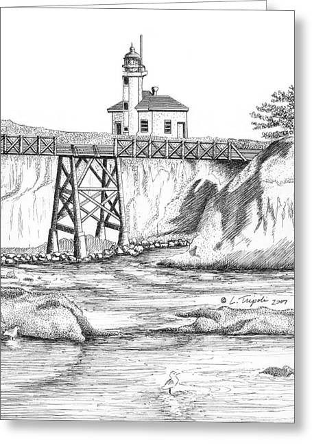 Cape Arago Lighthouse Greeting Card by Lawrence Tripoli