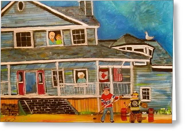 Cape Breton Hockey Fans Greeting Card by Michael Litvack