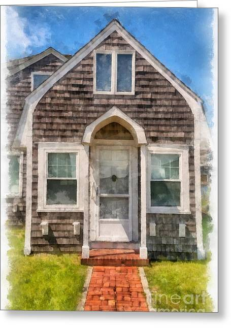 Cape Cod Cottage Watercolor Greeting Card