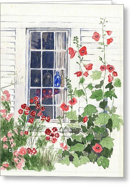 Cape Cod Cottage Window Greeting Card by Carol Helene