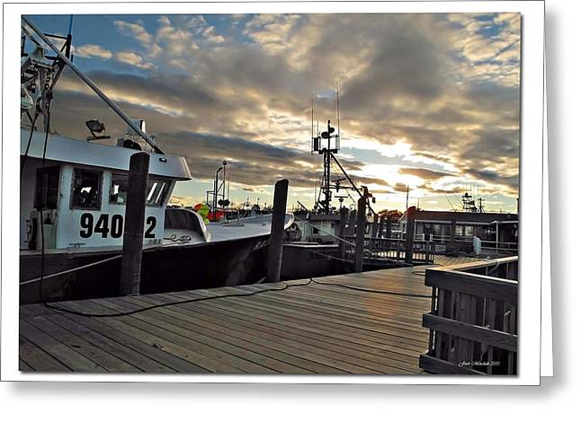 Cape Cod Harbor Greeting Card by Joan  Minchak