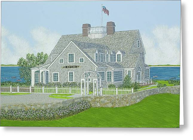 Cape Cod House Portrait Greeting Card by David Hinchen