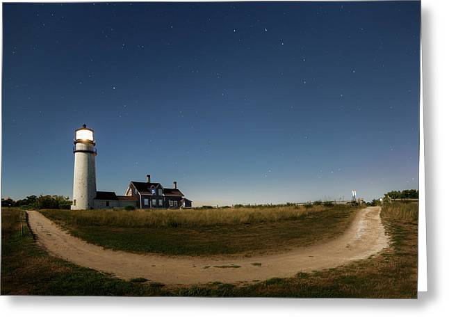 Cape Cod Light Starry Night Greeting Card by Bill Wakeley