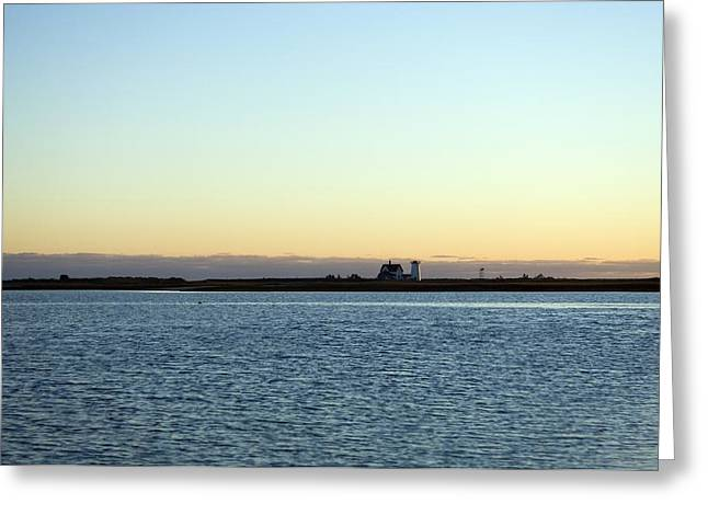 Cape Cod Lighthouse And Bay, Chatham Greeting Card by Keenpress