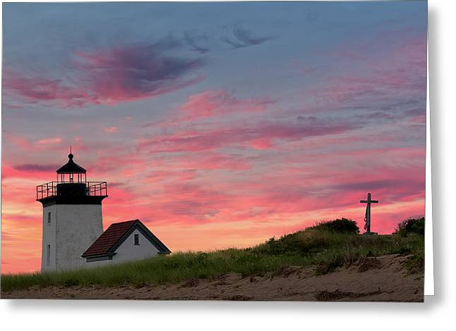 Cape Cod Long Point Light Greeting Card by Bill Wakeley