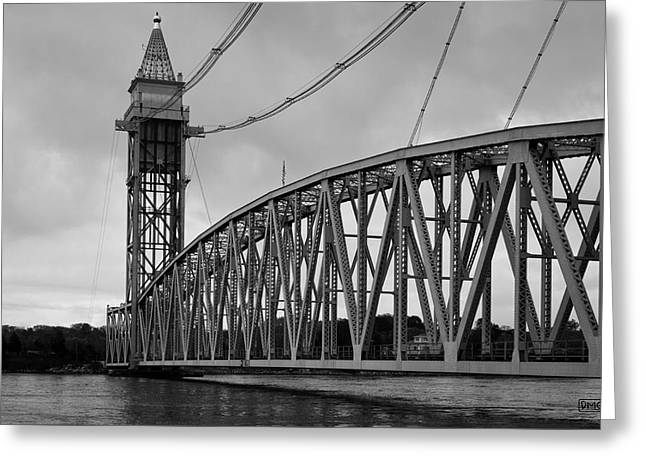 Cape Cod Railroad Bridge I Bw Greeting Card by David Gordon