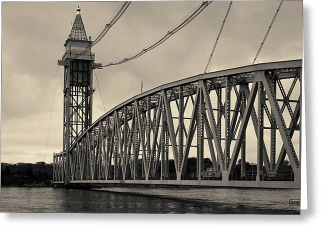 Cape Cod Railroad Bridge I Toned Greeting Card by David Gordon