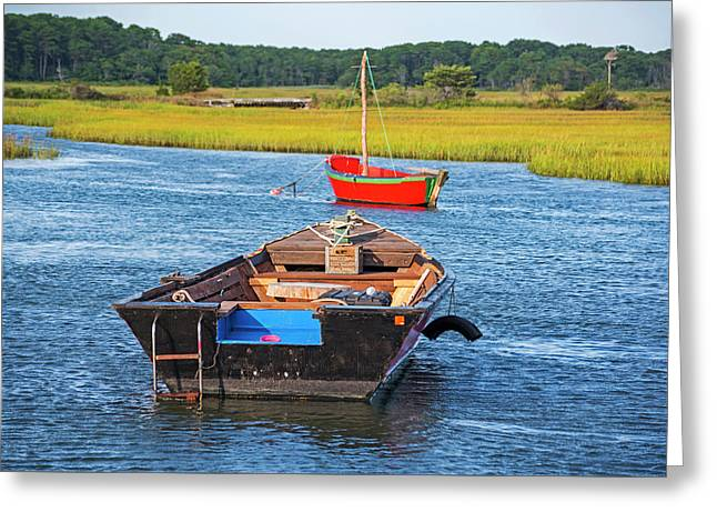 Cape Cod Red Boat Chatham Ma Ladder Greeting Card by Toby McGuire