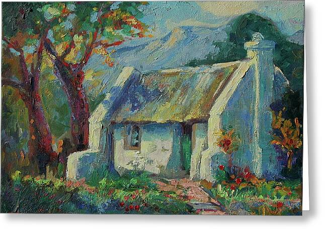 Cape Cottage With Mountains Art Bertram Poole Greeting Card