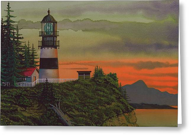 Sunset Framed Prints Mixed Media Greeting Cards - Cape Disappointment Greeting Card by James Lyman