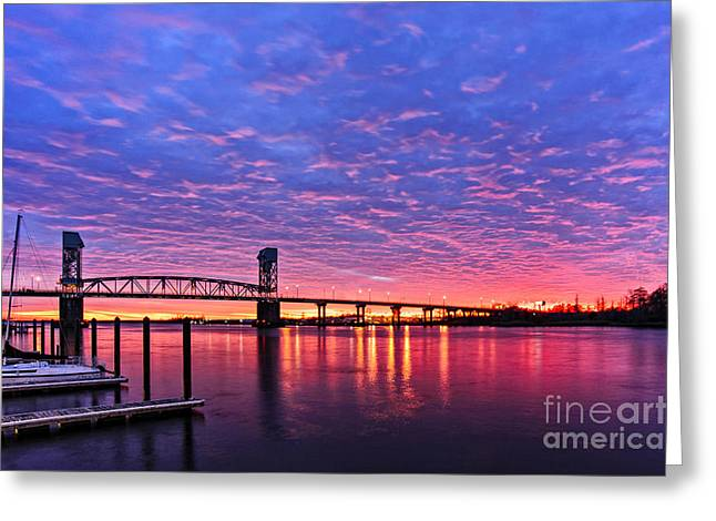 Greeting Card featuring the photograph Cape Fear Bridge1 by DJA Images
