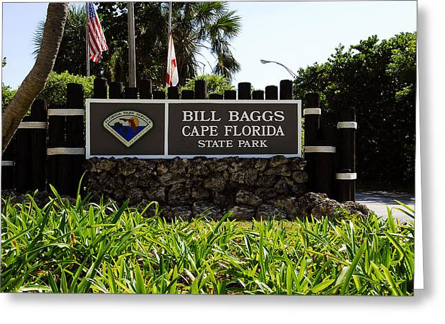 Cape Florida Entrance Sign Greeting Card by David Lee Thompson