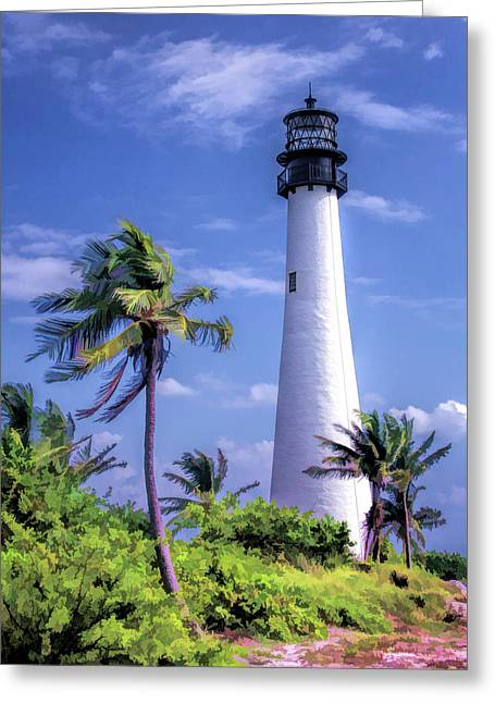 Greeting Card featuring the painting Cape Florida Lighthouse by Christopher Arndt